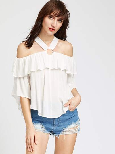 White O Ring Cold Shoulder Ruffle Top