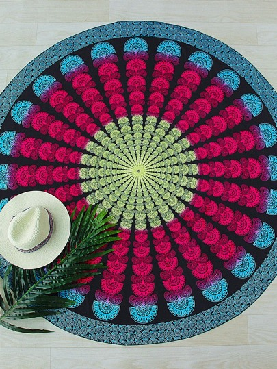 Red And Blue Print Vintage Round Beach Blanket