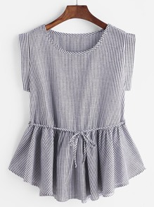 Pinstripes Frill Hem Belt Top