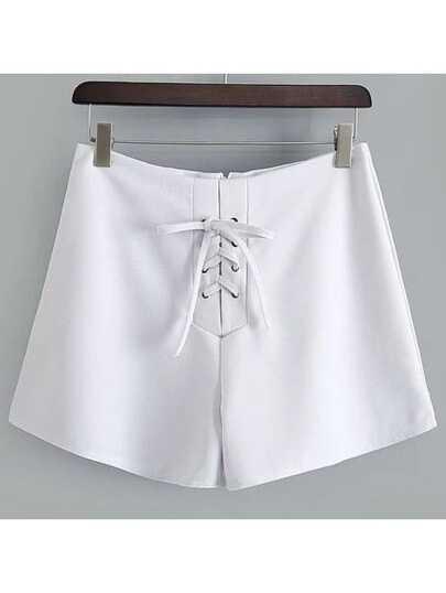 Shorts con cordones con cremallera - blanco