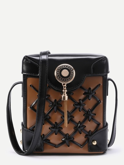 Criss Cross Crossbody Pouch Bag With Tassel