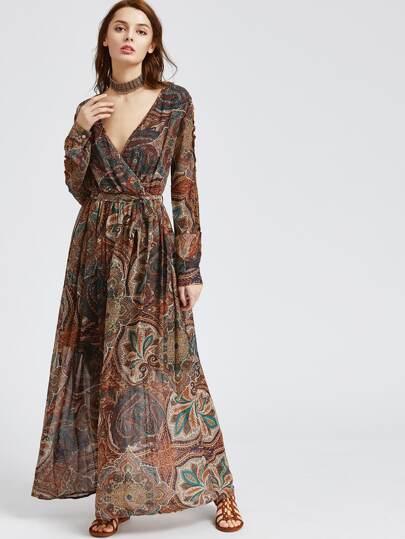 maxi vestito scollo a V deformato stampa azteca