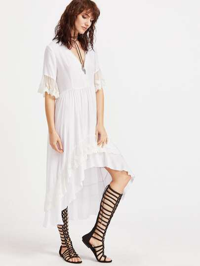 Plunge Neck Lace Trim High Low Frill Dress