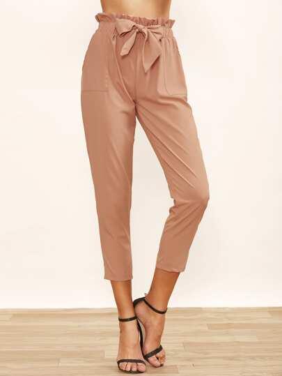 Pantaloni Increspati Nodo Su Cintola