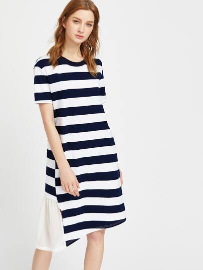 Contrast Striped Ruffle Trim Asymmetric Dress