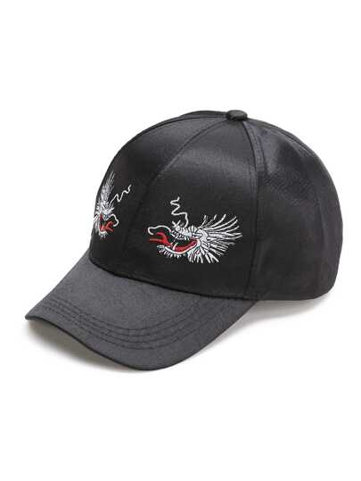 Cappellino con ricamo di Drago - nero