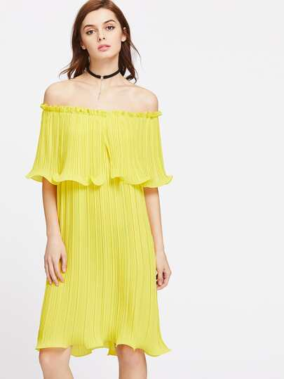 Lettuce Hem Pleated Layered Off Shoulder Dress