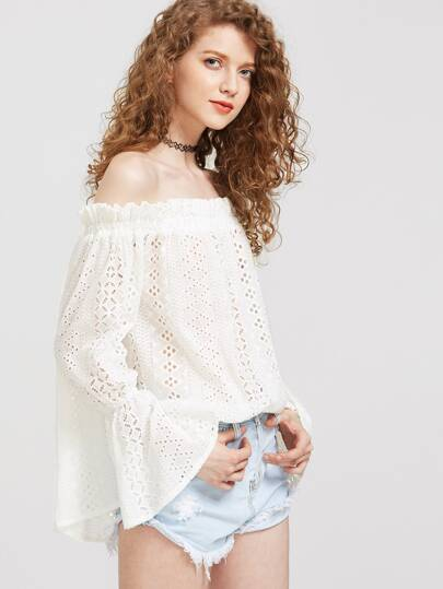 Flare Cuff Eyelet Embroidered Ruffle Bardot Top