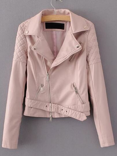 Oblique Zipper PU Moto Jacket With Buckle