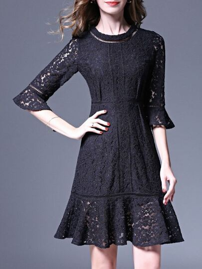 Navy Bell Sleeve Frill Lace Dress