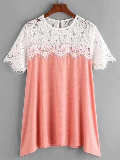 Contrast Eyelash Lace Slub T-shirt