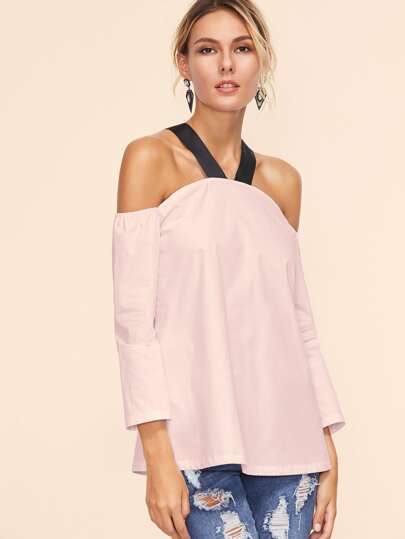 Contrast Strap Cold Shoulder Tunic Top