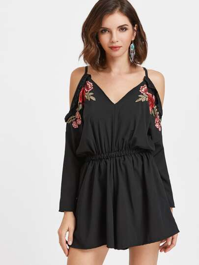 Ruffle Trim Embroidery Appliques Tie Back Romper