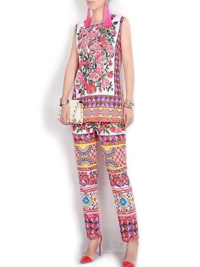 Hot Pink Tribal Print Top With Pants