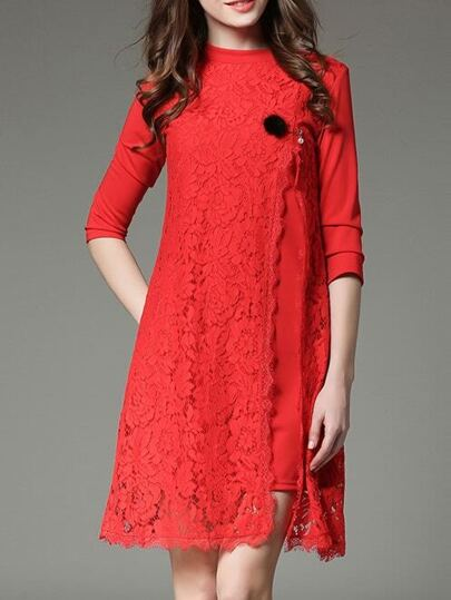 Red Contrast Lace Split Dress