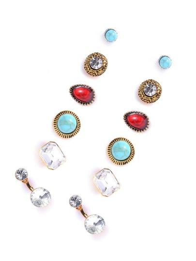 Set pendientes vintage con apliques cristales - multicolor
