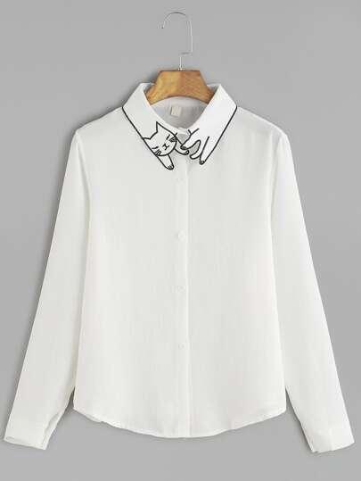 Chemise brodé chat sur cillier avec bouton -blanc