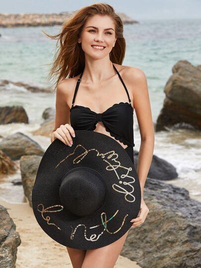 Sombrero de paja con ala ancha con lentejuelas - negro