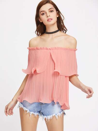 Off Shoulder Frilled Pleated Top