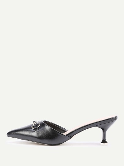 Pointed Toe Kitten Heeled Mules