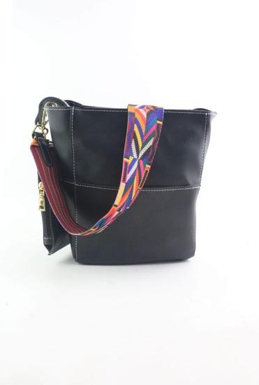 Bolso bombonera de cuero patchwork con monedero - negro