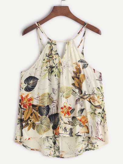 Tropical Print Dip Hem Cami Top
