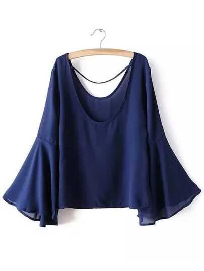 Blusa con cuello redondo de manga acampanada - azul