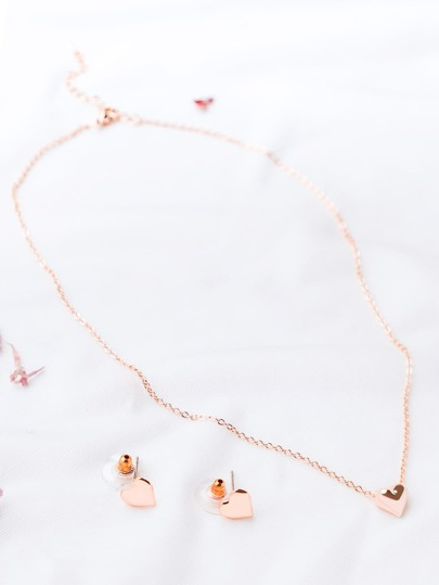 Rose Gold Heart Pendant Necklace With Earrings