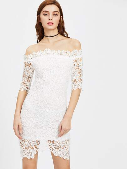Bardot Neck Lace Overlay Split Back Bodycon Dress