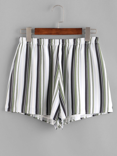 Striped Elastic Waist Shorts