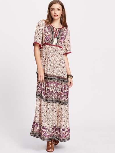 Floral Print Tassel Tie Neck Keyhole Back High Waist Dress