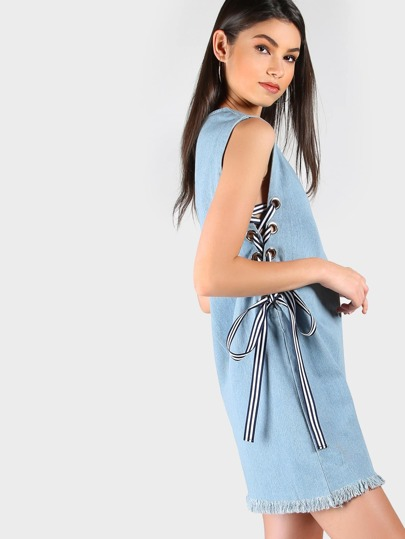 Sleeveless Frayed Denim Laced Dress LIGHT DENIM