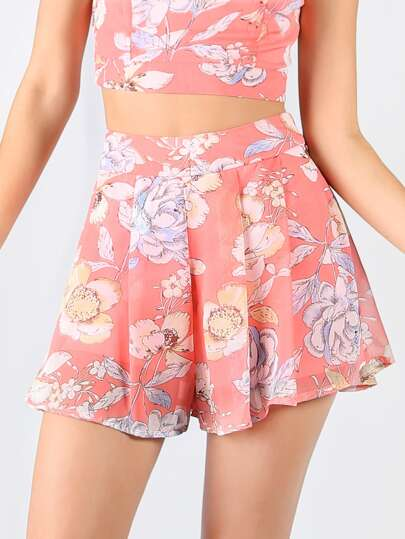 Chiffon Flow Floral Shorts PINK