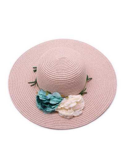 Chapeau de paille avec une fleur de couleur aléatoire - Rose