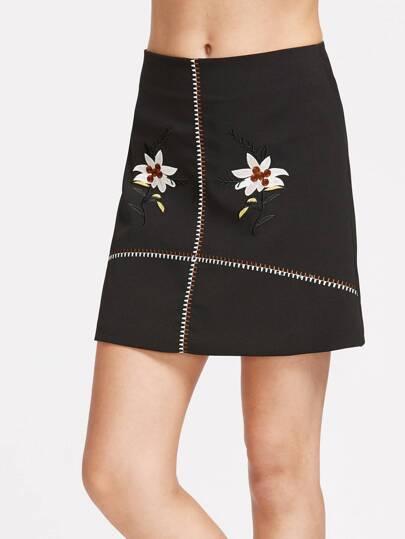 Embroidery Zipper Back Skirt