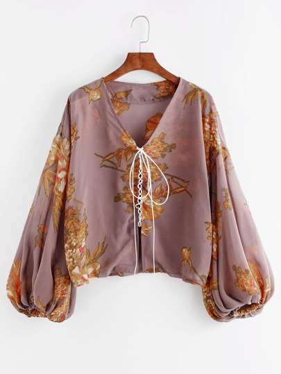 Bishop Sleeve Floral Print Lace Up Front Top