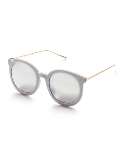 Grey Frame Metal Arm Clear Lens Sunglasses