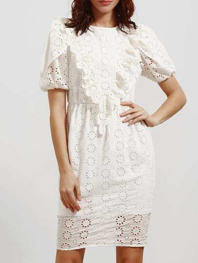 White Ruffle Trim Puff Sleeve Eyelet Embroidered Dress
