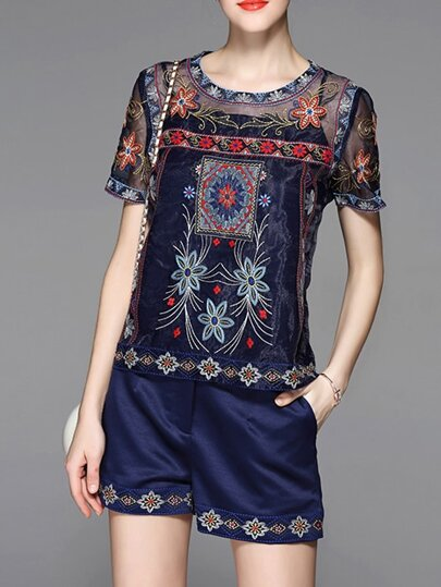 Navy Vintage Embroidered Top With Shorts