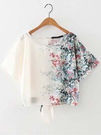 Bianco con stampa floreale Tie Back Top