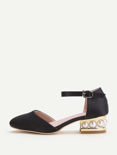 Black Point Toe Ankle Strap Satin Chunky Heeled Shoes