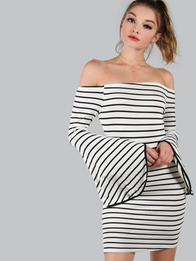 Striped Bardot Bell Sleeved Dress IVORY MULTI