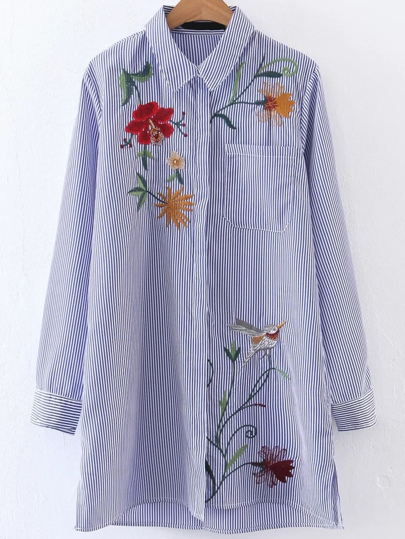 Vertical Striped Embroided Shirt Dress