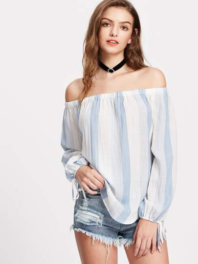 Striped Tie Sleeve Dolphin Hem Bardot Top