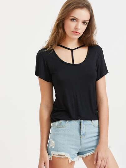 Black Cutout Neck Casual T-Shirt