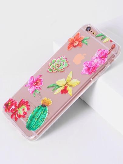 Funda para iphone 6 plus/6s transparente con estampado de flor