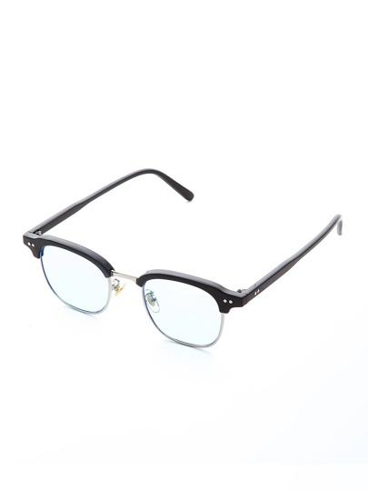 Half Frame Light Blue Lens Sunglasses