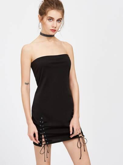 Black Lace Up Side Tube Dress