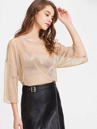 Drop Shoulder Sheer Metallic Mesh Top