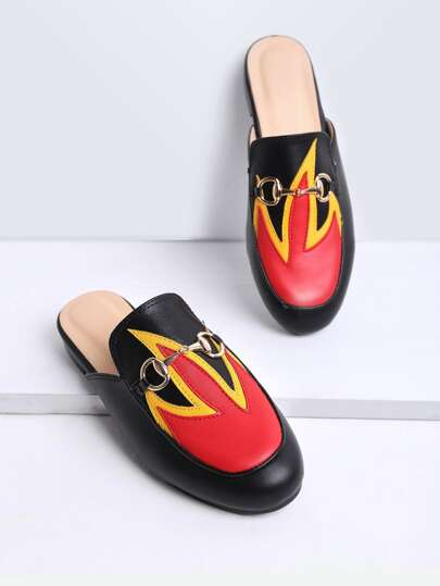 Black Color Block Flat Slippers